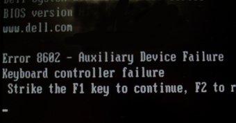 Error de la bios cuando no funciona el teclado
